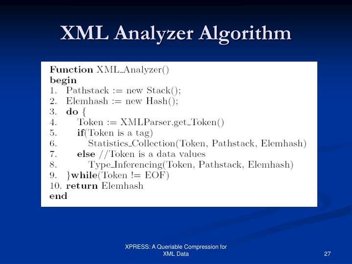 XML Analyzer Algorithm