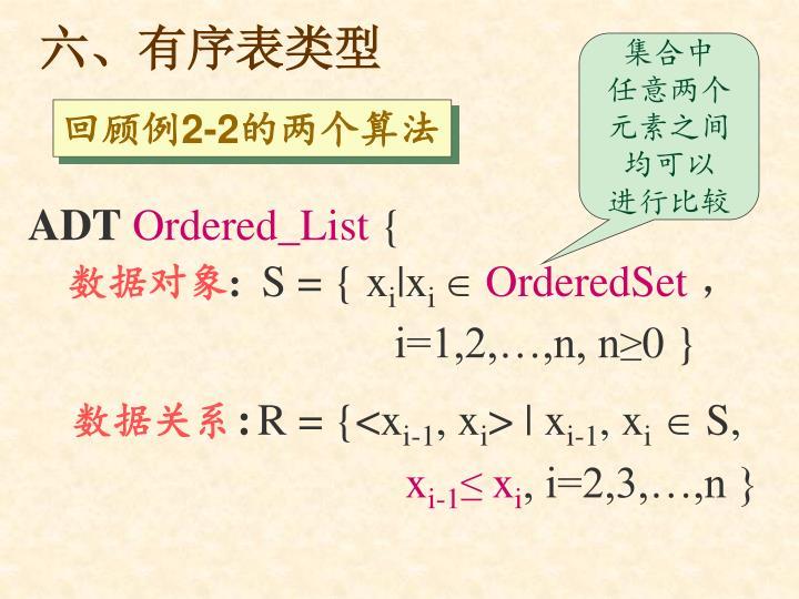 六、有序表类型