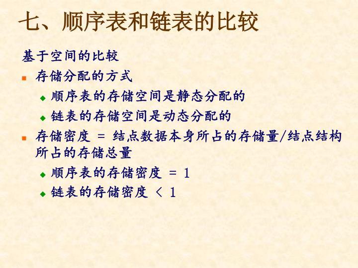 七、顺序表和链表的比较