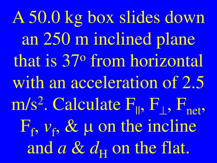 A 50.0 kg box slides down an 250 m inclined plane that is 37