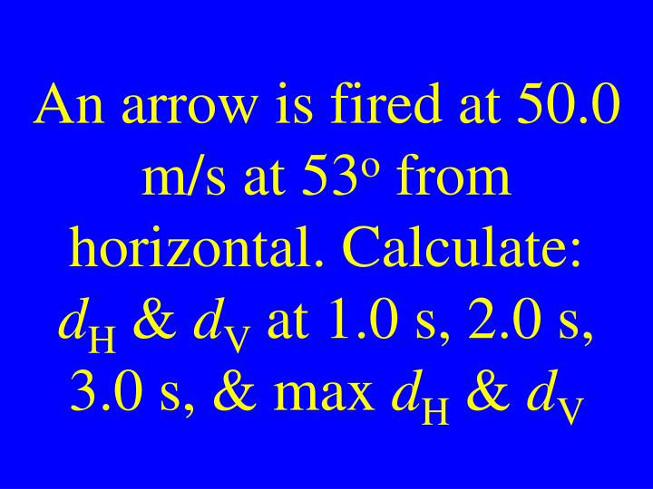 An arrow is fired at 50.0 m/s at 53