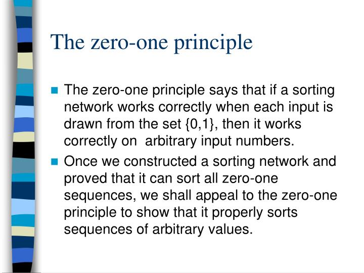 The zero-one principle