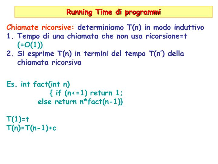 Running Time di programmi
