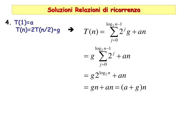 Soluzioni Relazioni di ricorrenza
