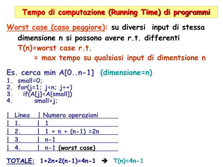 Tempo di computazione (Running Time) di programmi