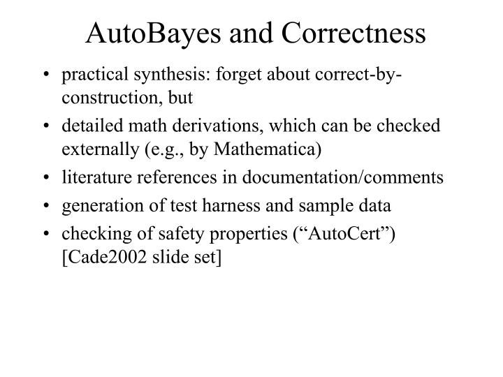AutoBayes and Correctness