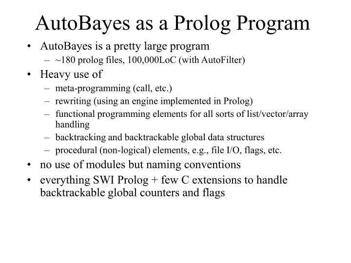 AutoBayes as a Prolog Program