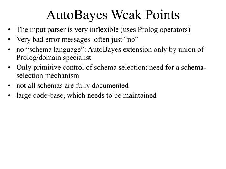 AutoBayes Weak Points
