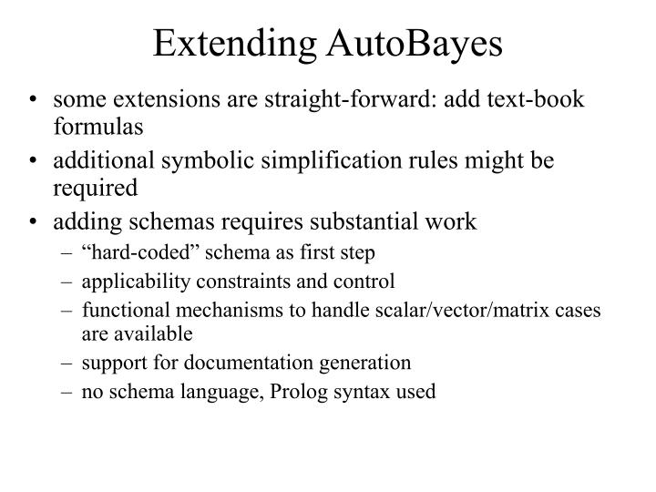 Extending AutoBayes