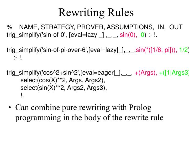 Rewriting Rules