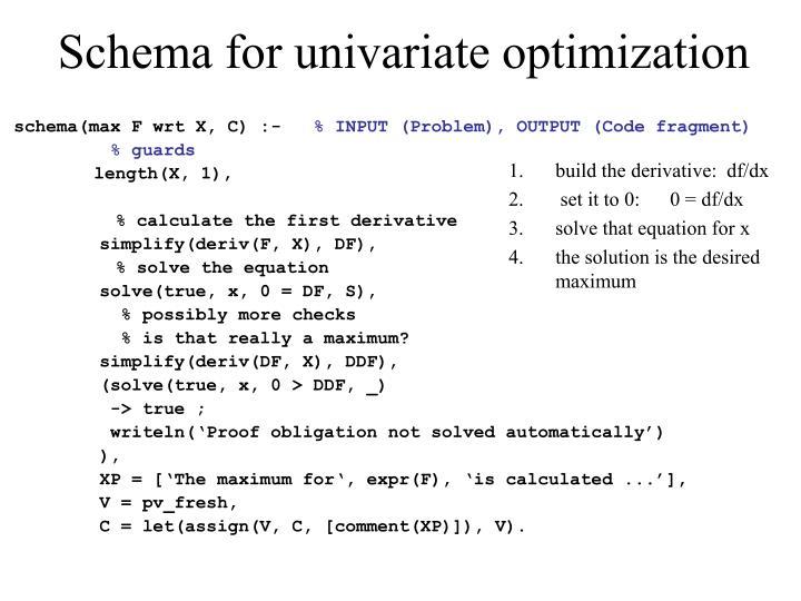 Schema for univariate optimization