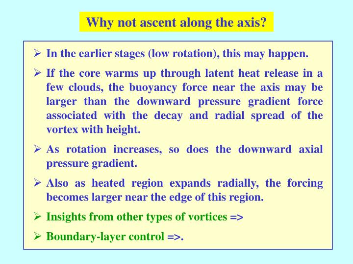Why not ascent along the axis?