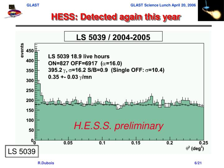 HESS: Detected again this year
