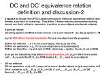dc and dc equivalence relation definition and discussion 2