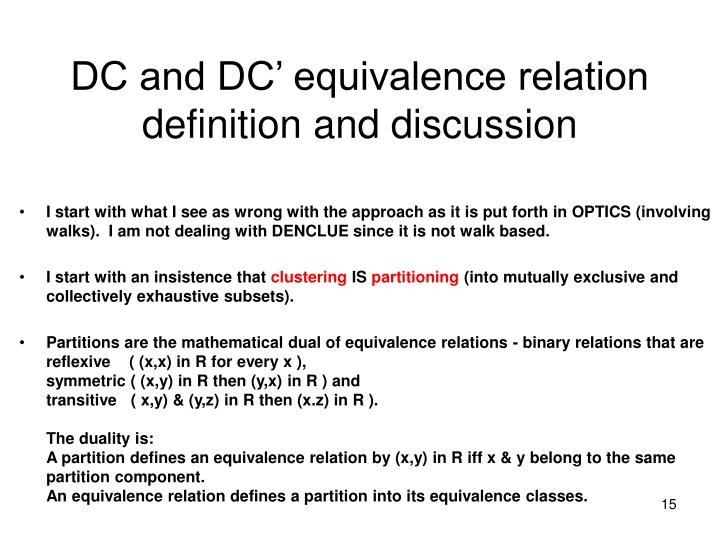 DC and DC' equivalence relation definition and discussion