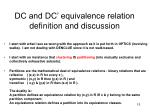 dc and dc equivalence relation definition and discussion