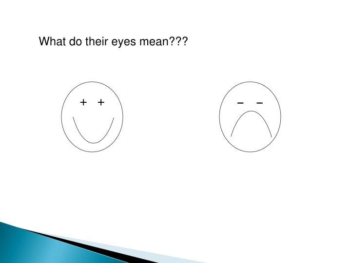 What do their eyes mean???