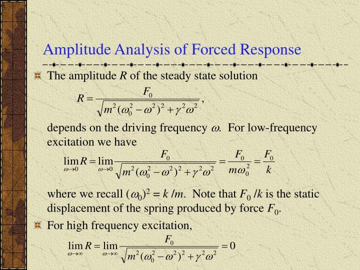 Amplitude Analysis of Forced Response