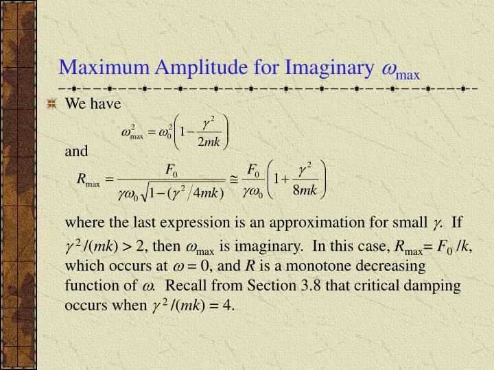 Maximum Amplitude for Imaginary