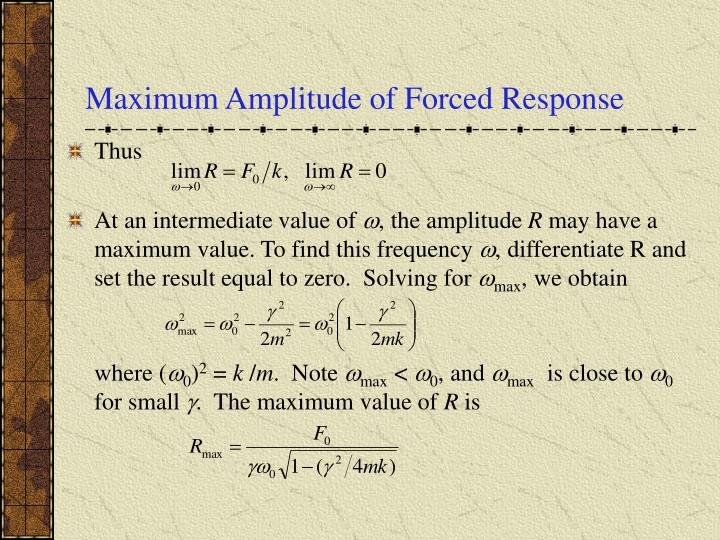 Maximum Amplitude of Forced Response