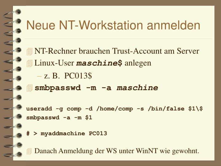 Neue NT-Workstation anmelden