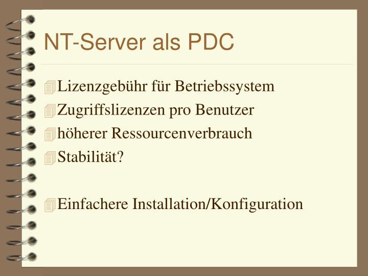 NT-Server als PDC