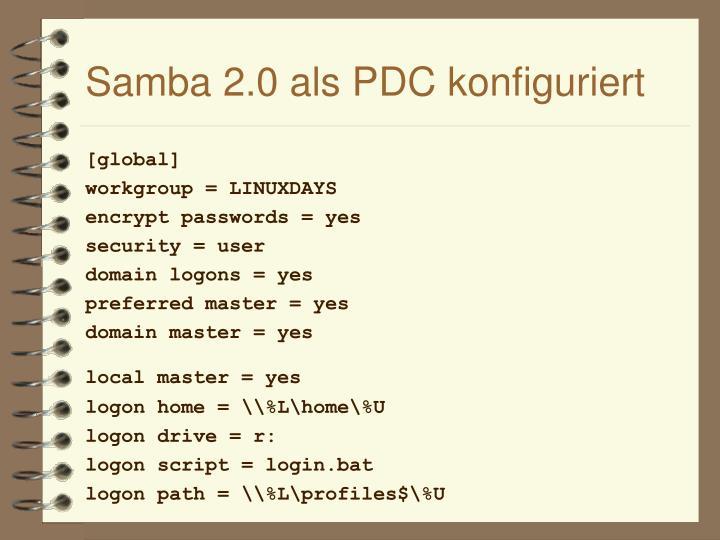 Samba 2.0 als PDC konfiguriert