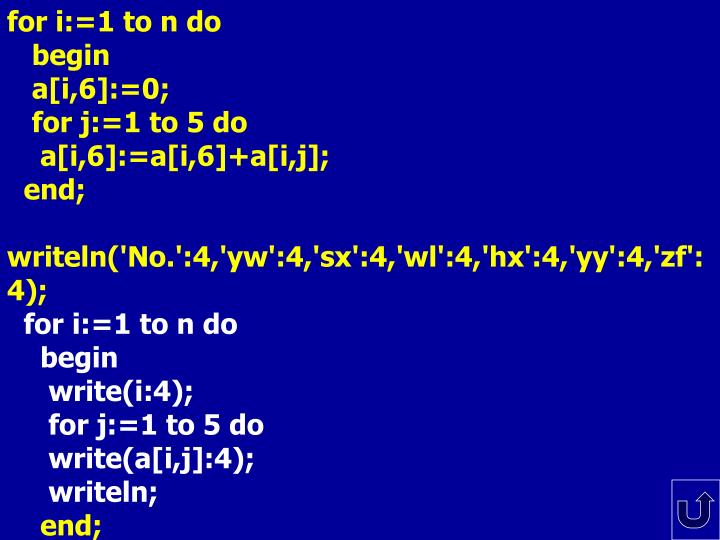 for i:=1 to n do