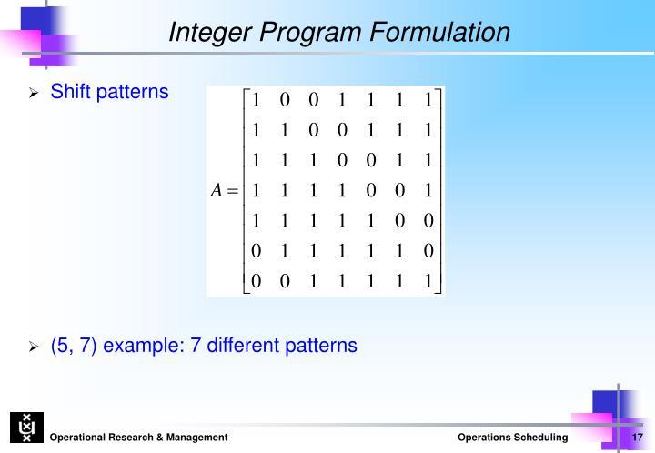 Integer Program Formulation