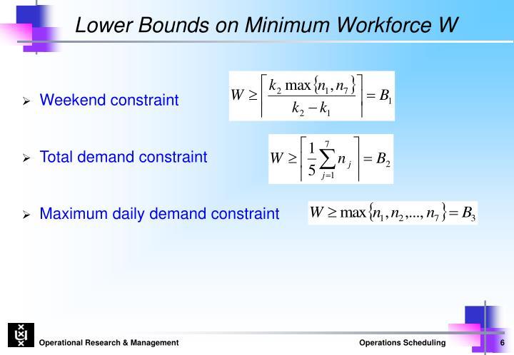 Lower Bounds on Minimum Workforce W