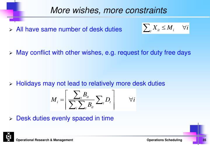 More wishes, more constraints