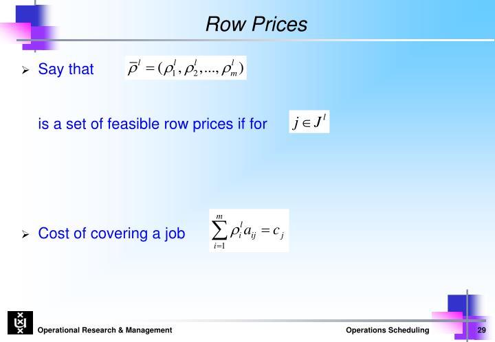 Row Prices