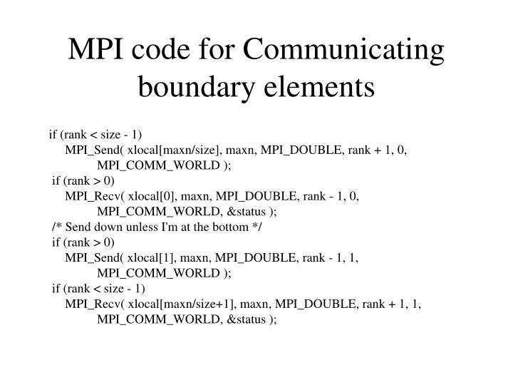 MPI code for Communicating boundary elements