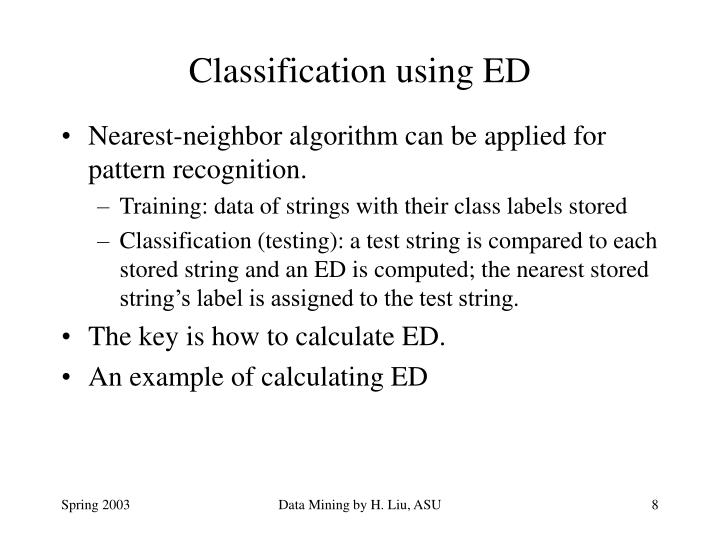 Classification using ED