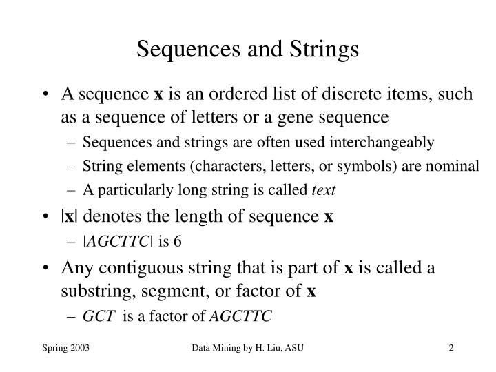 Sequences and strings