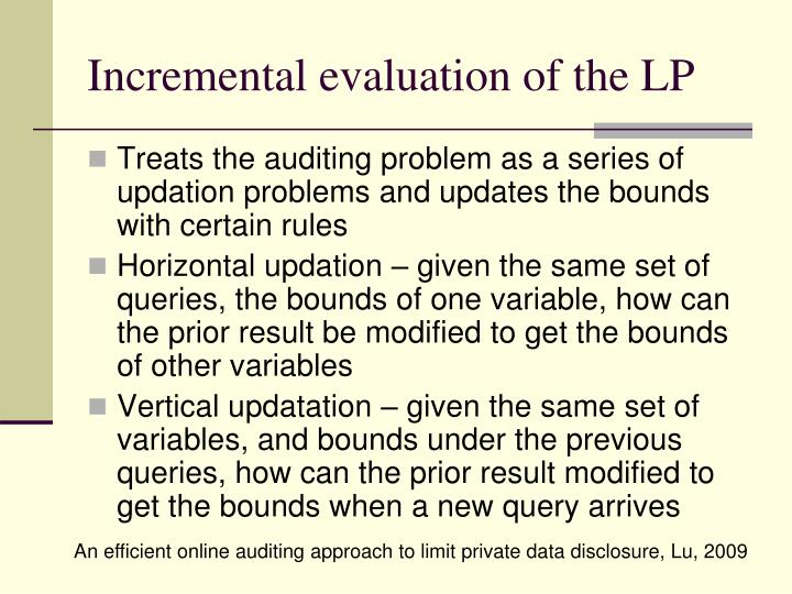 Incremental evaluation of the LP