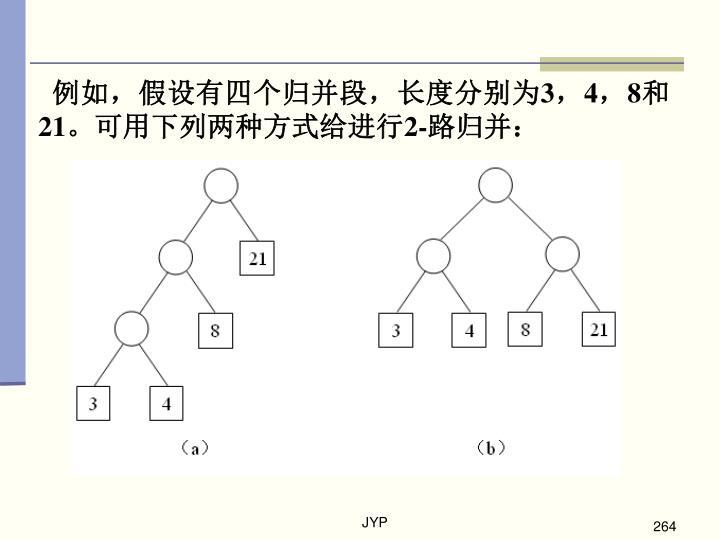 例如,假设有四个归并段,长度分别为