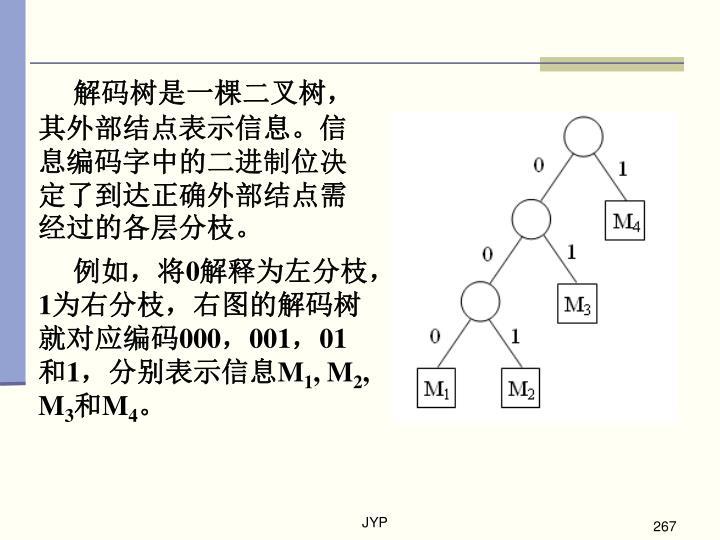 解码树是一棵二叉树,其外部结点表示信息。信息编码字中的二进制位决定了到达正确外部结点需经过的各层分枝。