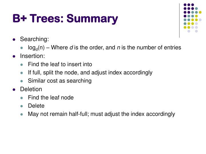 B+ Trees: Summary