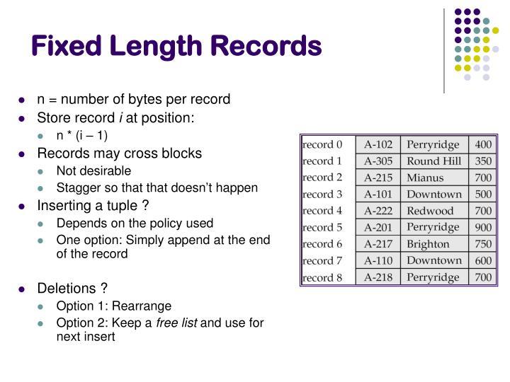 Fixed Length Records