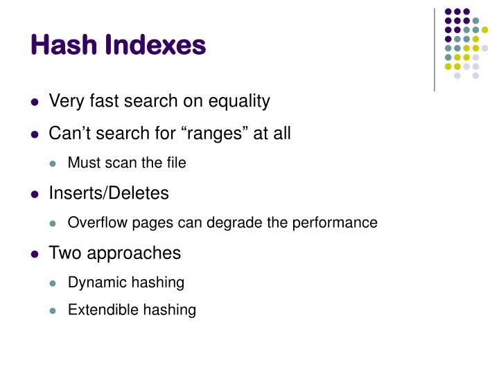 Hash Indexes