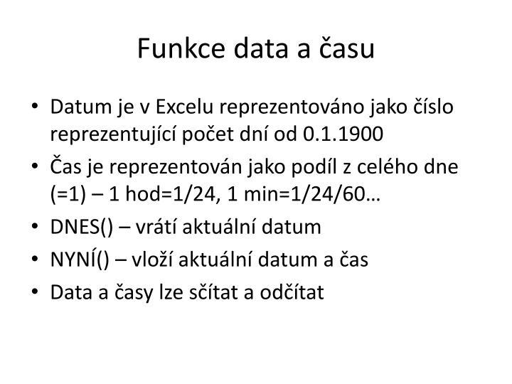 Funkce data a času