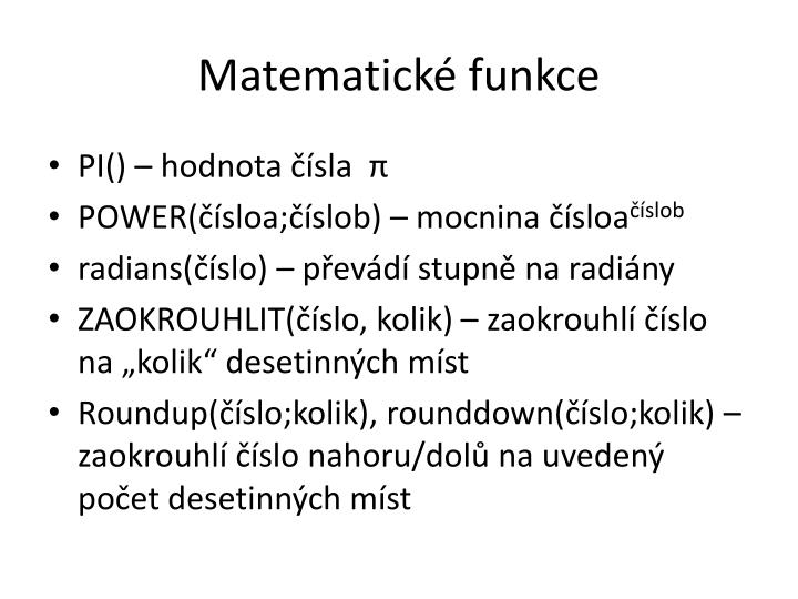 Matematické funkce