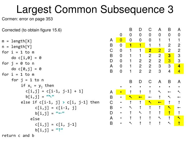 Largest Common Subsequence 3