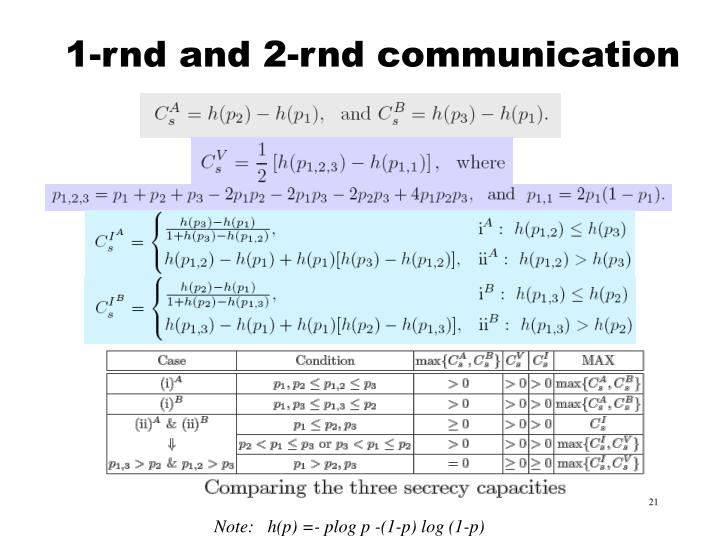 1-rnd and 2-rnd communication