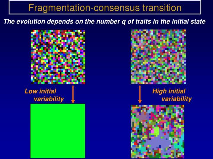 Fragmentation-consensus transition