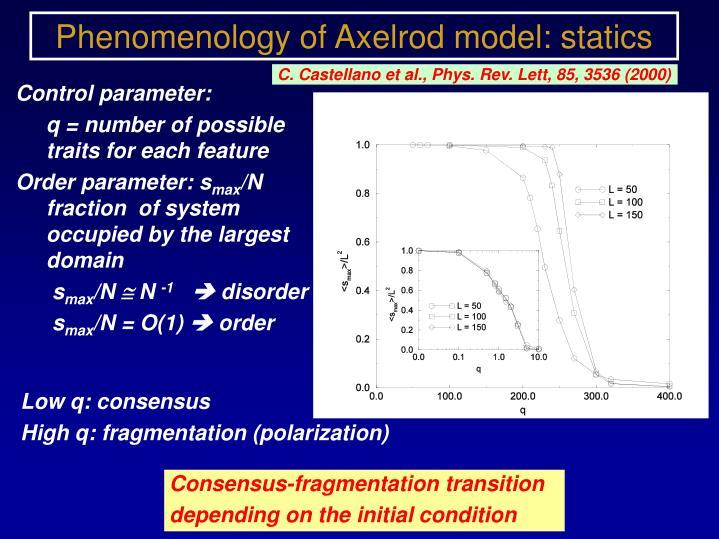 Phenomenology of Axelrod model: statics