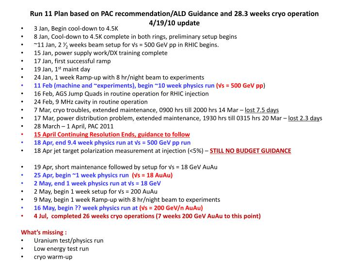 Run 11 Plan based on PAC recommendation/ALD Guidance and 28.3 weeks cryo operation