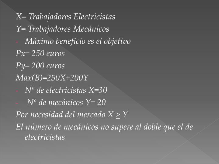 X= Trabajadores Electricistas