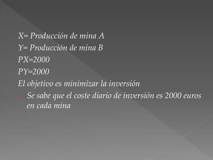 X= Producción de mina A